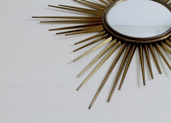 Vintage sunburst mirror brass