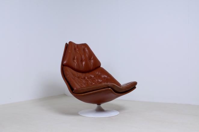 artifort-geoffrey-harcourt-leather-cognac-camel-swival-design-F-series-dutch-design-lounge-chair-1