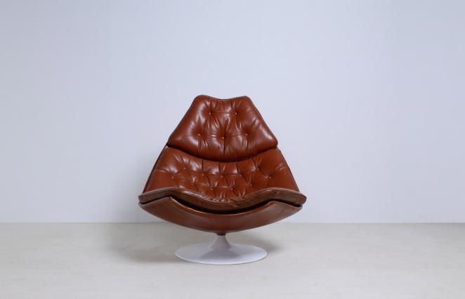 artifort-geoffrey-harcourt-leather-cognac-camel-swival-design-F-series-dutch-design-lounge-chair-6