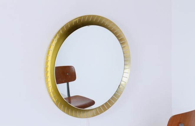 back-lit-mirror-brass-circular-round-perforated-metal-light-source-mategot-artimeta-style-midcentury-vintage-spiegel-verlichting-large-giant-xl-barber-