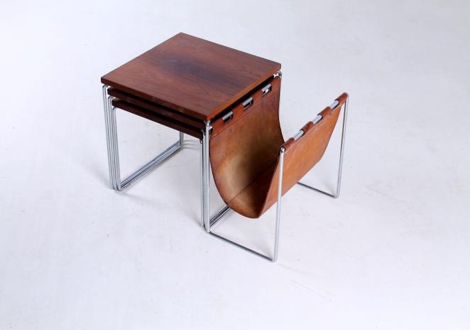 brabantia-nesting-tables-table-set-leather-sling-magazine-holder-vintage-rosewood-timber-chrome-metal-small-furniture-design-1