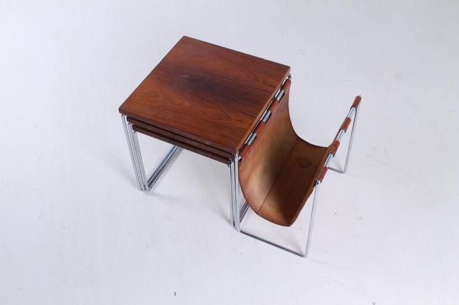 brabantia-nesting-tables-table-set-leather-sling-magazine-holder-vintage-rosewood-timber-chrome-metal-small-furniture-design-2