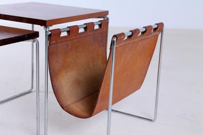 brabantia-nesting-tables-table-set-leather-sling-magazine-holder-vintage-rosewood-timber-chrome-metal-small-furniture-design-4