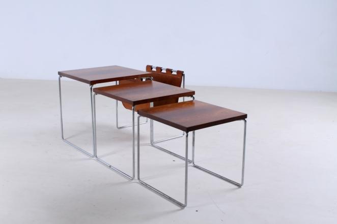 brabantia-nesting-tables-table-set-leather-sling-magazine-holder-vintage-rosewood-timber-chrome-metal-small-furniture-design-6