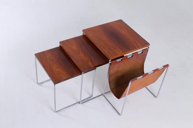 brabantia-nesting-tables-table-set-leather-sling-magazine-holder-vintage-rosewood-timber-chrome-metal-small-furniture-design-7