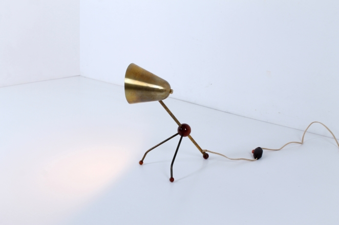Boris lacroix otto kolb tripod brass midcentury light cencity very desirable midcentury brass tripod table light design attributed to boris lacroix and otto kolb 1950 the slender minimal shape and tripod stand aloadofball Gallery