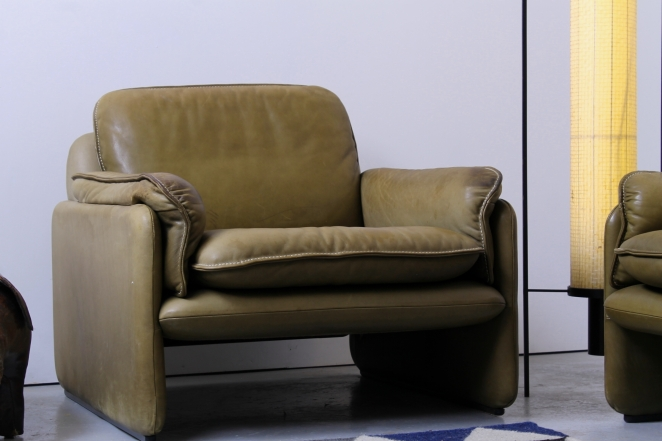 De Sede Ds 61 Two Seat Sofa And Club Chair Vintage Leather