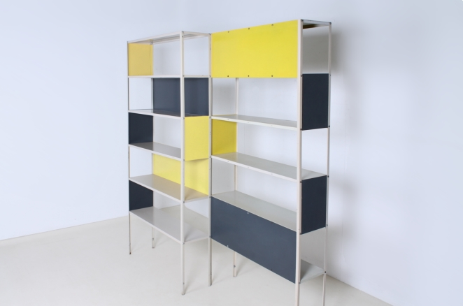 friso-kramer-asmeta-bijenkorf-1953-yellow-bookcase-colored-unit-modular-system-dutch-graphic-industrial-design-modernist-metal-3