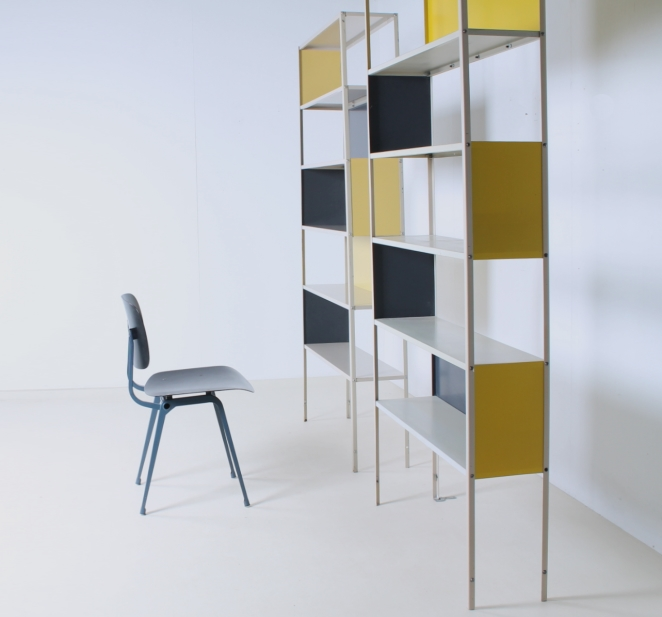 friso-kramer-asmeta-bijenkorf-1953-yellow-bookcase-colored-unit-modular-system-dutch-graphic-industrial-design-modernist-metal-5