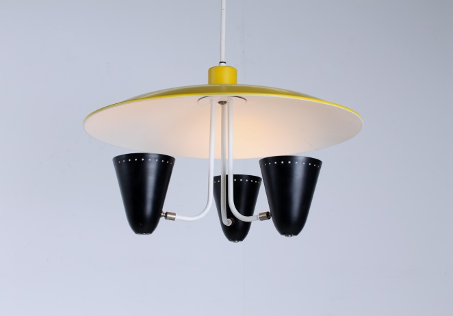 hala-zeist-dutch-design-saucer-ufo-atomic-italian-style-arteluce-stilnovo-mategot-metal-modern-fifties-yellow-black-pendant-1