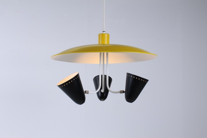 hala-zeist-dutch-design-saucer-ufo-atomic-italian-style-arteluce-stilnovo-mategot-metal-modern-fifties-yellow-black-pendant-6