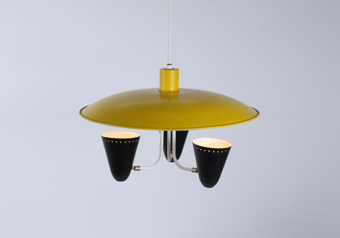 hala-zeist-dutch-design-saucer-ufo-atomic-italian-style-arteluce-stilnovo-mategot-metal-modern-fifties-yellow-black-pendant-7