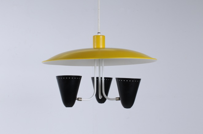 hala-zeist-dutch-design-saucer-ufo-atomic-italian-style-arteluce-stilnovo-mategot-metal-modern-fifties-yellow-black-pendant-8