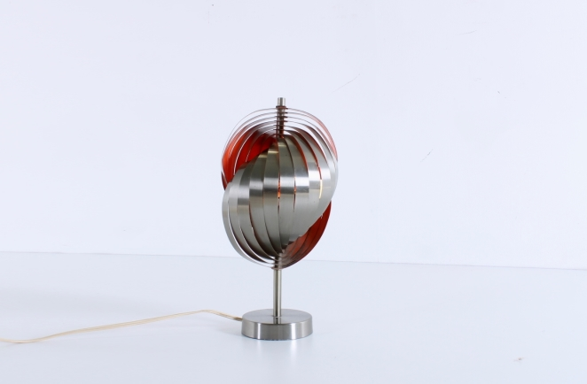 henri-mathieu-lumieres-lyfa-table-desk-light-spiral-metal-space-age-orange-stainless-steel-eclisse-shell-lamellae-sixties-design-vintage-1