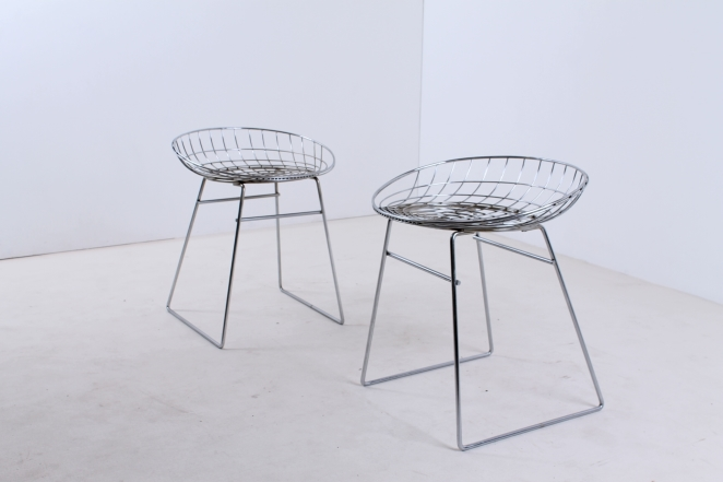pastoe-metal-wiring-steel-iron-stools-seating-vintage-design-cees-braakman-chrome-plated-chromed-edition-set-1