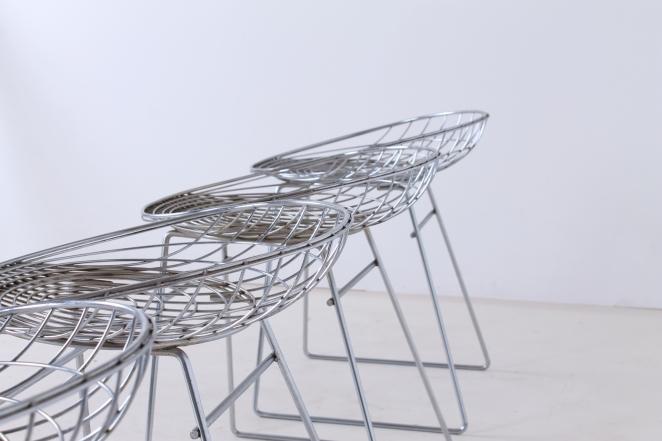 pastoe-metal-wiring-steel-iron-stools-seating-vintage-design-cees-braakman-chrome-plated-chromed-edition-set-4