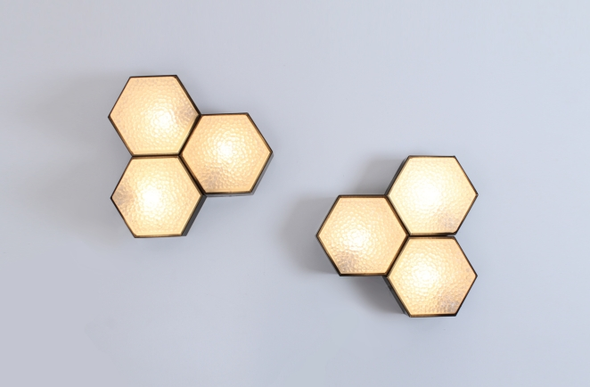 raak-hexagon-black-bubble-glass-ceiling-lights-set-vintage-lighting-dutch-design-stilnovo-style-geometric-shape-