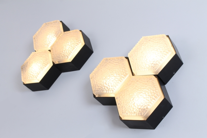 raak-hexagon-black-bubble-glass-ceiling-lights-set-vintage-lighting-dutch-design-stilnovo-style-geometric-shape-2