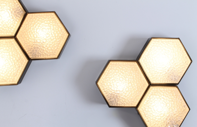 raak-hexagon-black-bubble-glass-ceiling-lights-set-vintage-lighting-dutch-design-stilnovo-style-geometric-shape-3