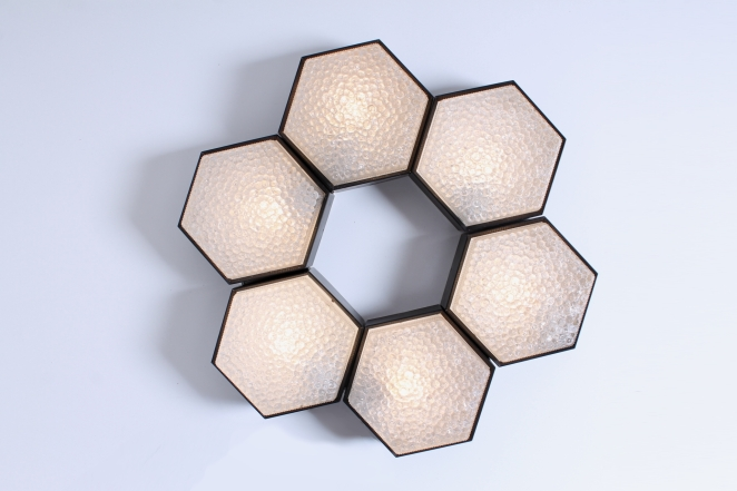 raak-hexagon-black-bubble-glass-ceiling-lights-set-vintage-lighting-dutch-design-stilnovo-style-geometric-shape-5