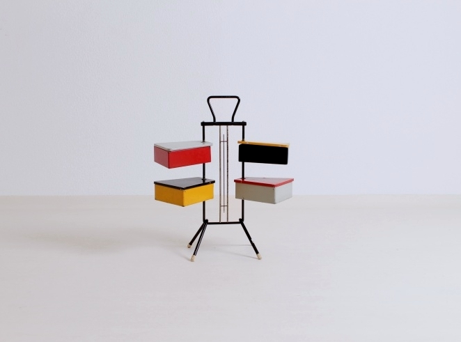 sewing-stand-vintage-red-yellow-cees-braakman-era-fifties-joost-teders-metalux-fifties-mid-century-storage-colored-rietveld-colors-1