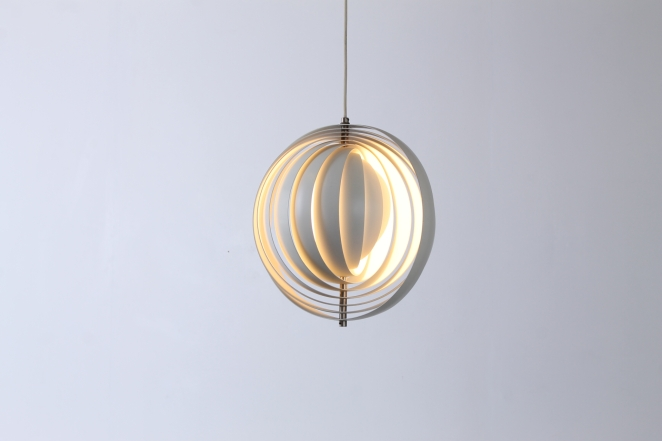 Great Iconic Original Sixties Moon Pendant By Verner Panton For Louis Poulsen  Attractive Offwhite Spherical Lamp Made From Metal Lamellae With Panton  Moon Lamp Idea